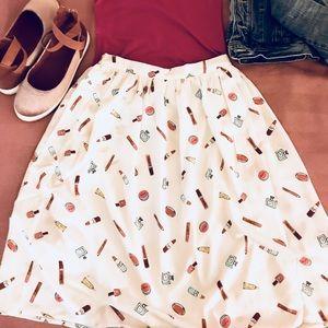 White Midi Skirt with ADORABLE PRINT